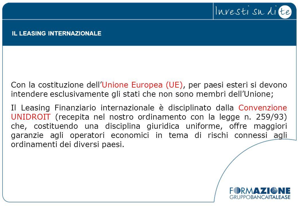 Con la costituzione dellUnione Europea (UE), per paesi esteri si devono intendere esclusivamente gli stati che non sono membri dellUnione; Il Leasing