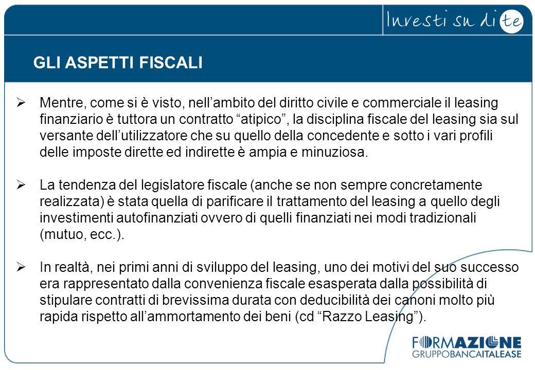 GLI ASPETTI FISCALI Mentre, come si è visto, nellambito del diritto civile e commerciale il leasing finanziario è tuttora un contratto atipico, la dis