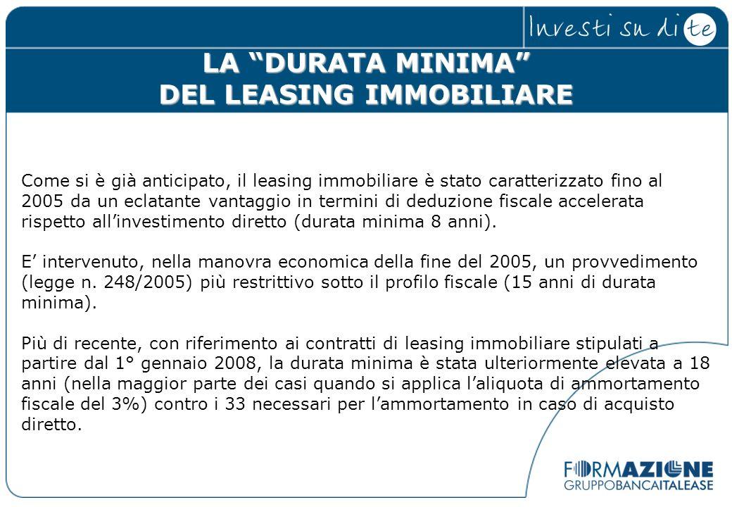LA DURATA MINIMA DEL LEASING IMMOBILIARE Come si è già anticipato, il leasing immobiliare è stato caratterizzato fino al 2005 da un eclatante vantaggi