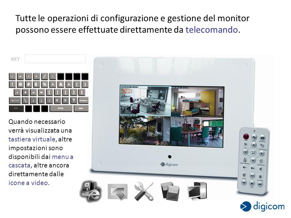 Tutte le operazioni di configurazione e gestione del monitor possono essere effettuate direttamente da telecomando.