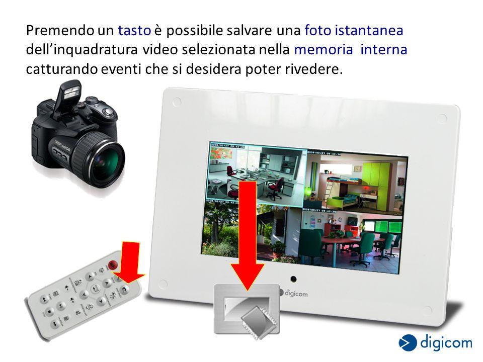 Premendo un tasto è possibile salvare una foto istantanea dellinquadratura video selezionata nella memoria interna catturando eventi che si desidera poter rivedere.