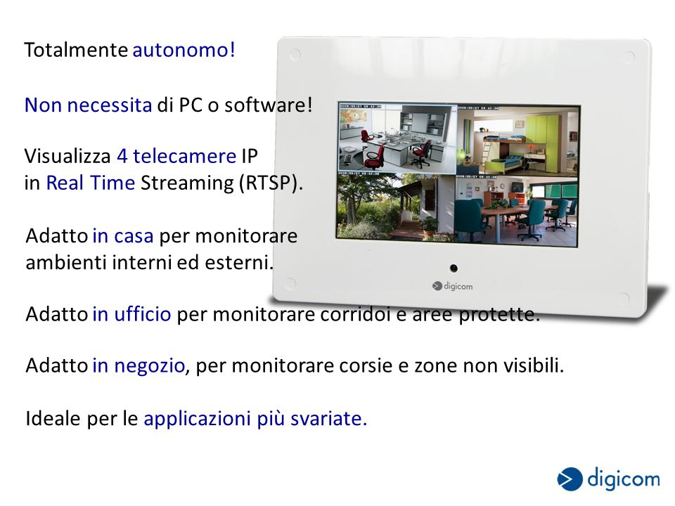 Totalmente autonomo! Non necessita di PC o software! Visualizza 4 telecamere IP in Real Time Streaming (RTSP). Adatto in casa per monitorare ambienti