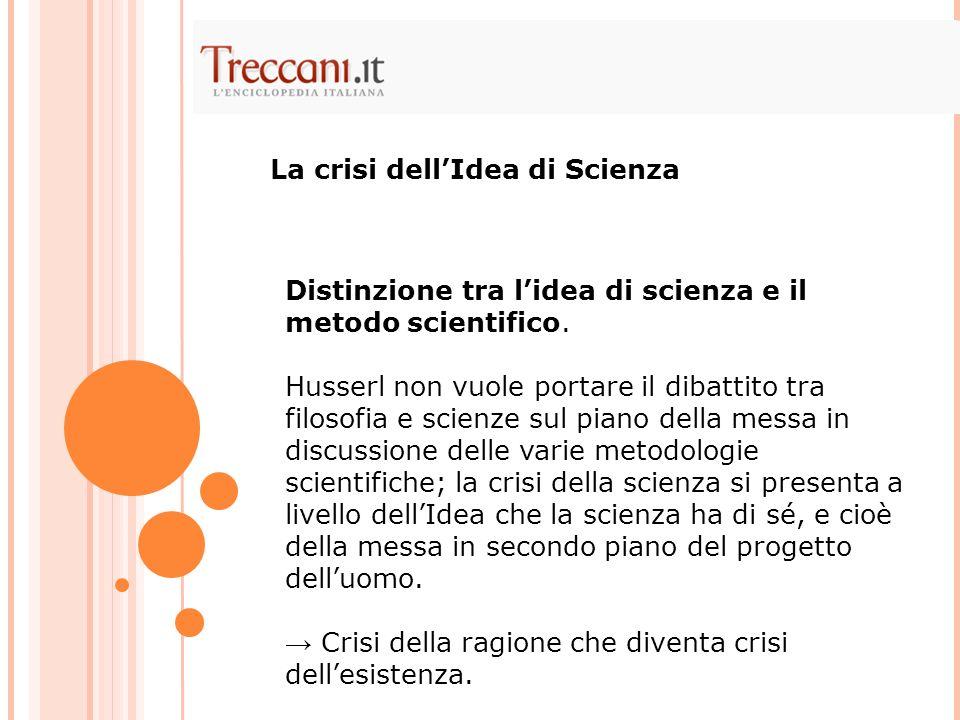 Distinzione tra lidea di scienza e il metodo scientifico. Husserl non vuole portare il dibattito tra filosofia e scienze sul piano della messa in disc