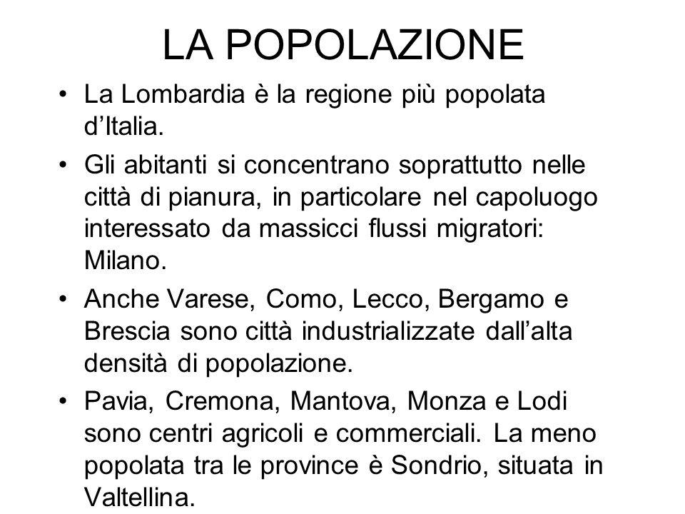 LA POPOLAZIONE La Lombardia è la regione più popolata dItalia. Gli abitanti si concentrano soprattutto nelle città di pianura, in particolare nel capo