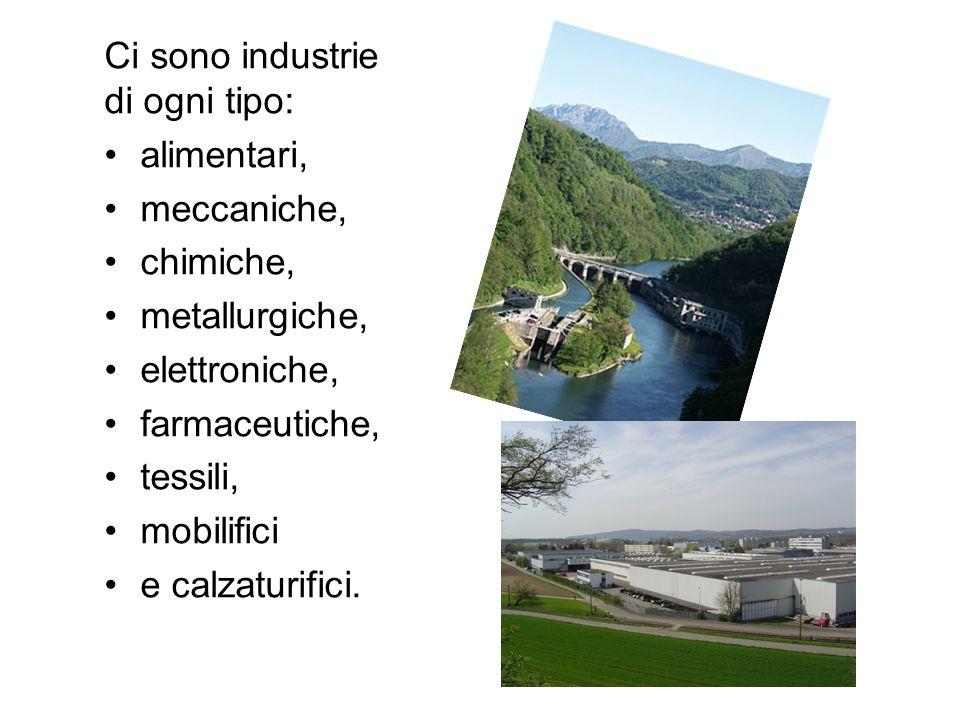 Ci sono industrie di ogni tipo: alimentari, meccaniche, chimiche, metallurgiche, elettroniche, farmaceutiche, tessili, mobilifici e calzaturifici.