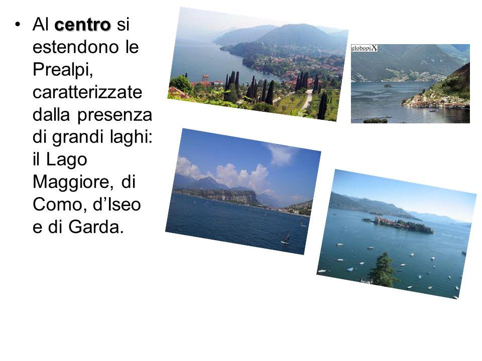 centroAl centro si estendono le Prealpi, caratterizzate dalla presenza di grandi laghi: il Lago Maggiore, di Como, dIseo e di Garda.