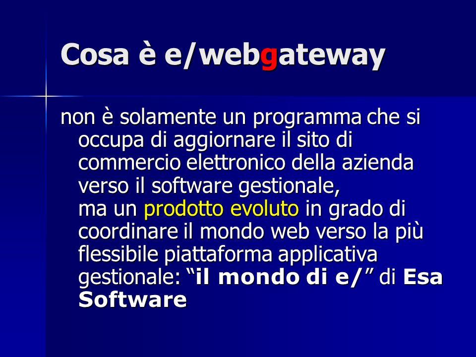 Cosa è e/webgateway non è solamente un programma che si occupa di aggiornare il sito di commercio elettronico della azienda verso il software gestionale, ma un prodotto evoluto in grado di coordinare il mondo web verso la più flessibile piattaforma applicativa gestionale: il mondo di e/ di Esa Software