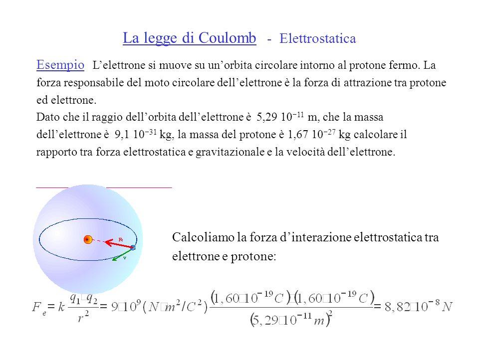 La legge di Coulomb - Elettrostatica Esempio Lelettrone si muove su unorbita circolare intorno al protone fermo. La forza responsabile del moto circol