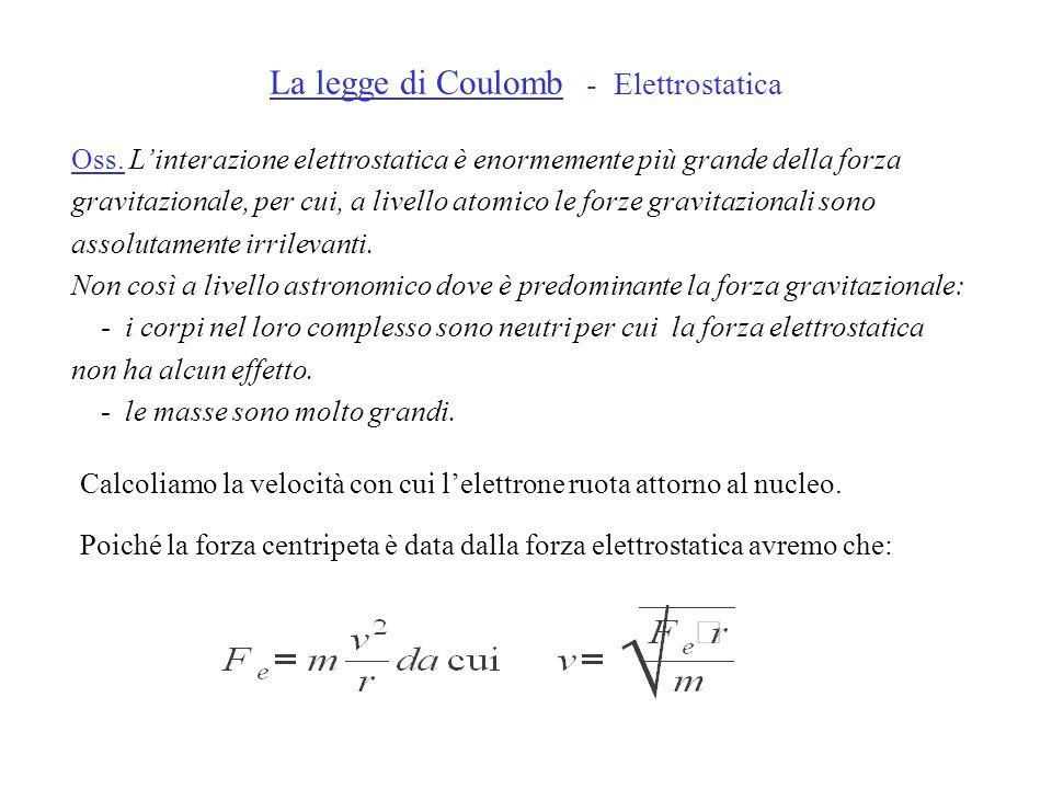 La legge di Coulomb - Elettrostatica Oss. Linterazione elettrostatica è enormemente più grande della forza gravitazionale, per cui, a livello atomico