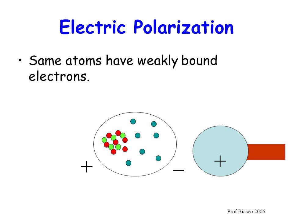 Prof Biasco 2006 Electric Polarization Same atoms have weakly bound electrons. + + + + + + + - - - - - - - +