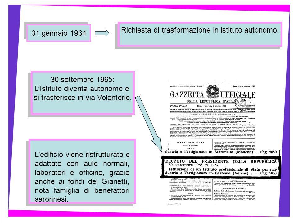 30 settembre 1965: LIstituto diventa autonomo e si trasferisce in via Volonterio. 30 settembre 1965: LIstituto diventa autonomo e si trasferisce in vi