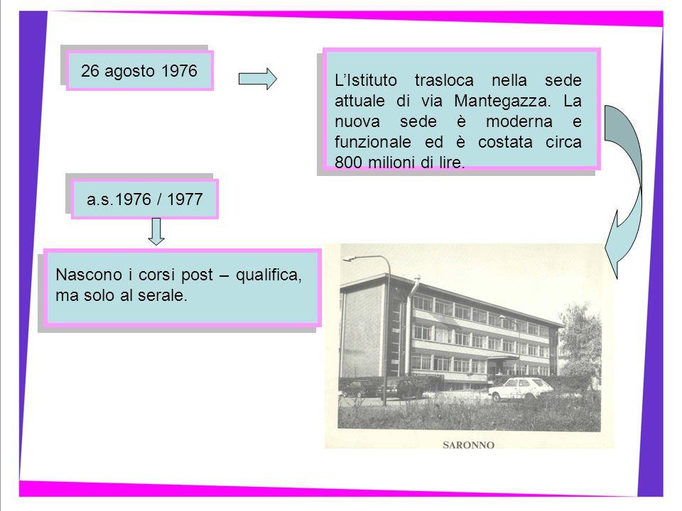 a.s.1976 / 1977 26 agosto 1976 LIstituto trasloca nella sede attuale di via Mantegazza. La nuova sede è moderna e funzionale ed è costata circa 800 mi