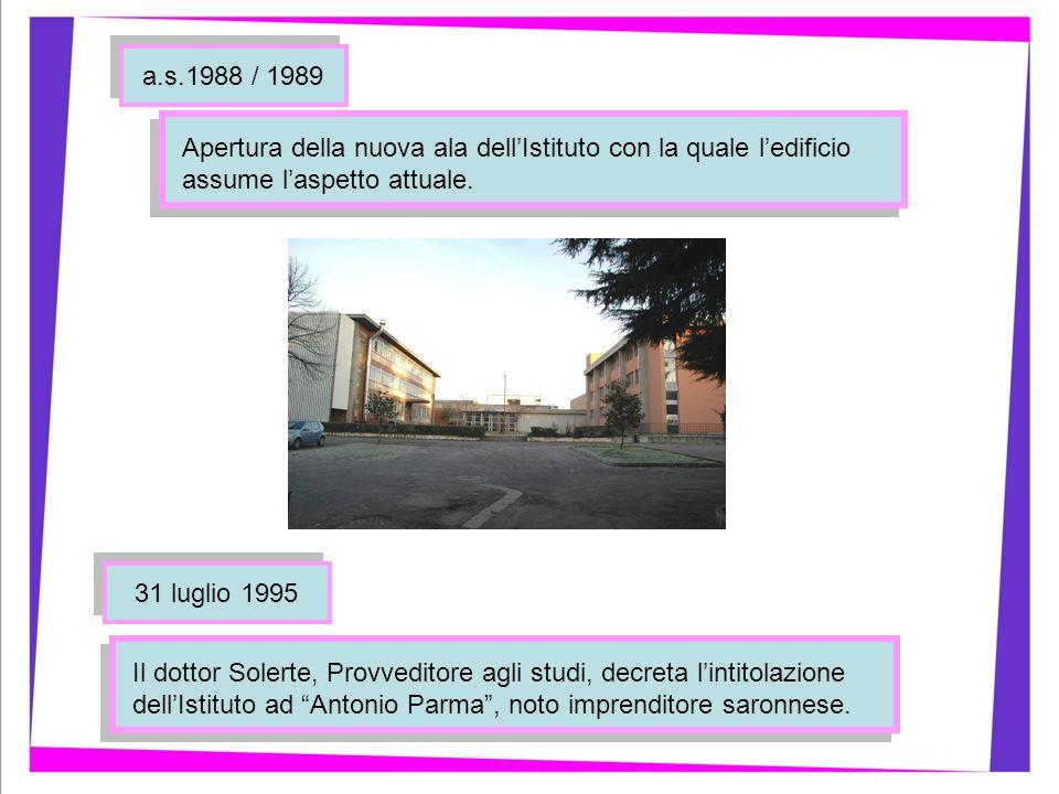 a.s.1988 / 1989 31 luglio 1995 Apertura della nuova ala dellIstituto con la quale ledificio assume laspetto attuale. Il dottor Solerte, Provveditore a