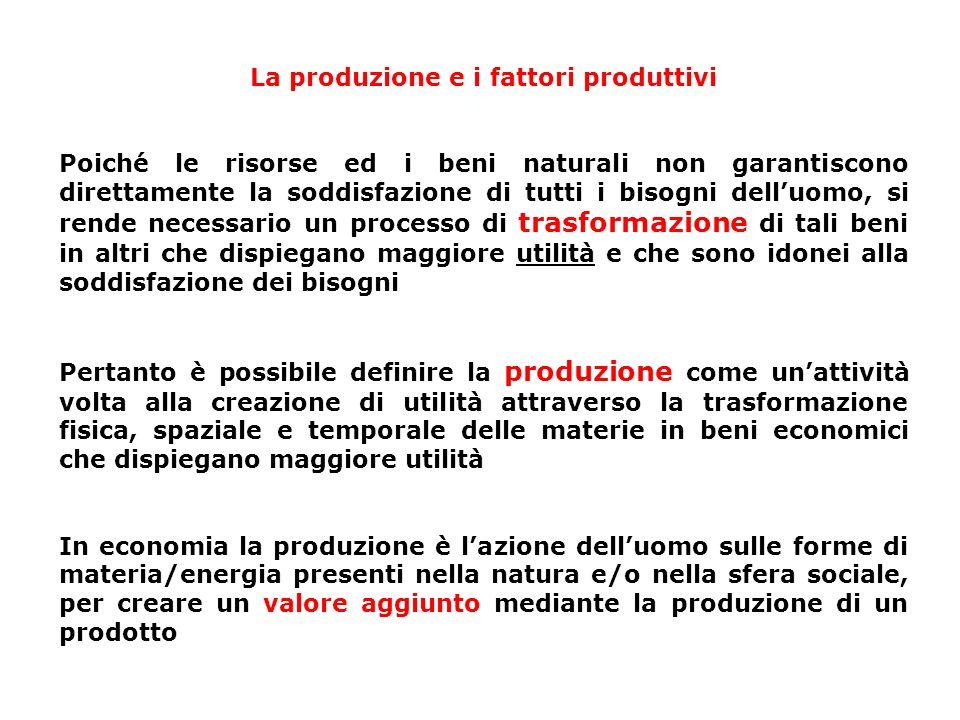 La produzione e i fattori produttivi Poiché le risorse ed i beni naturali non garantiscono direttamente la soddisfazione di tutti i bisogni delluomo,