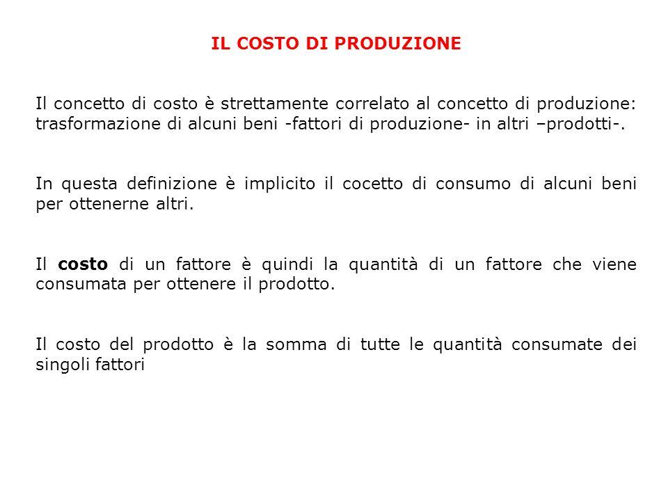 IL COSTO DI PRODUZIONE Il concetto di costo è strettamente correlato al concetto di produzione: trasformazione di alcuni beni -fattori di produzione-