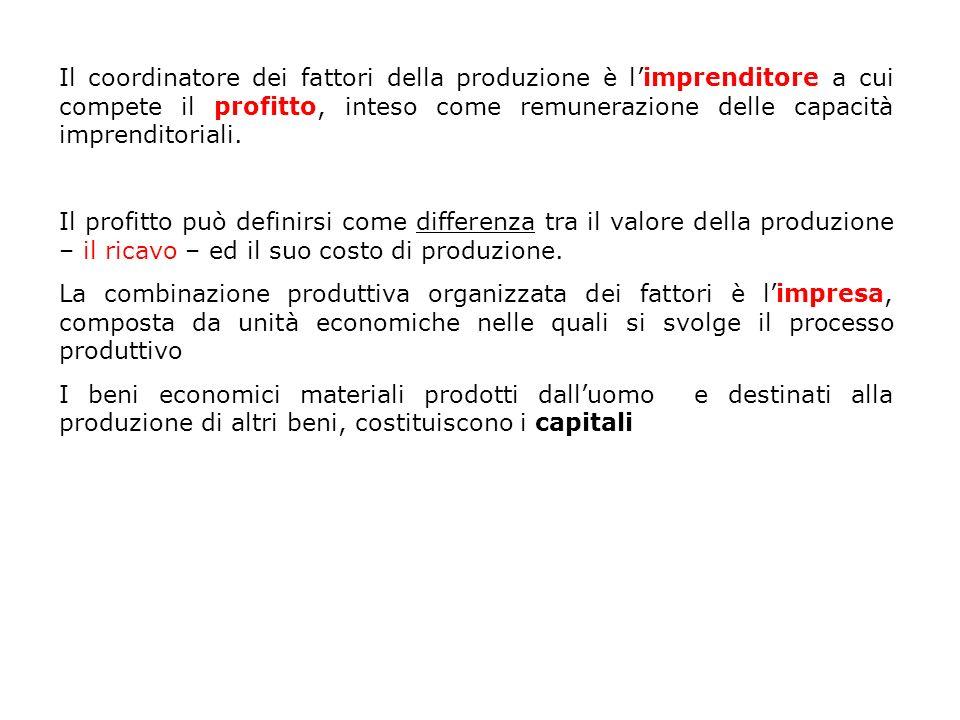 Il coordinatore dei fattori della produzione è limprenditore a cui compete il profitto, inteso come remunerazione delle capacità imprenditoriali. Il p