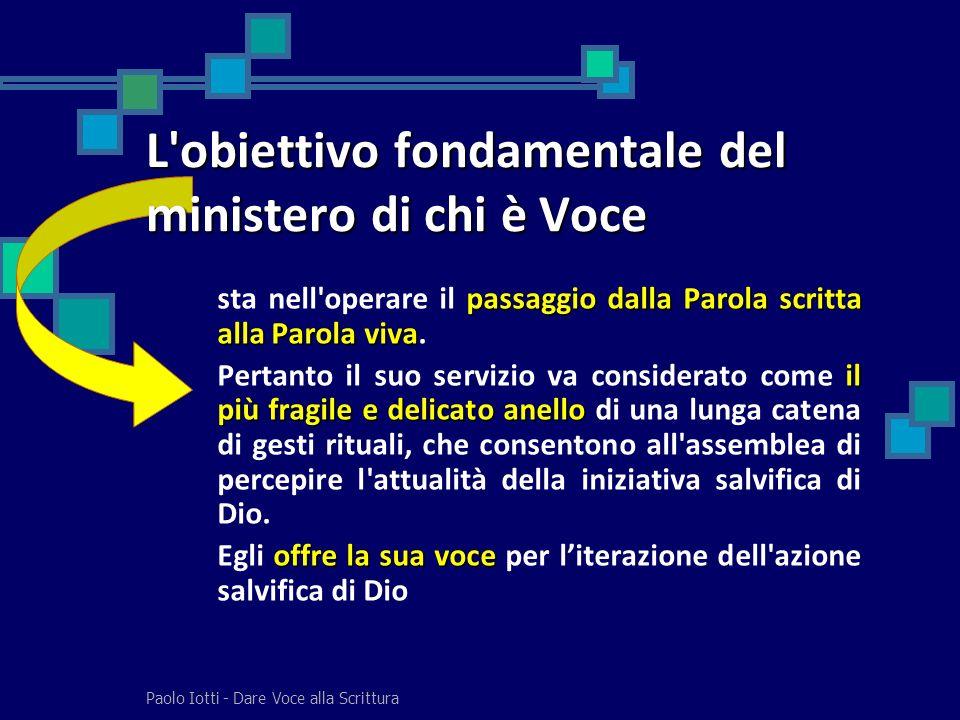 Paolo Iotti - Dare Voce alla Scrittura passaggio dalla Parola scritta alla Parola viva sta nell'operare il passaggio dalla Parola scritta alla Parola