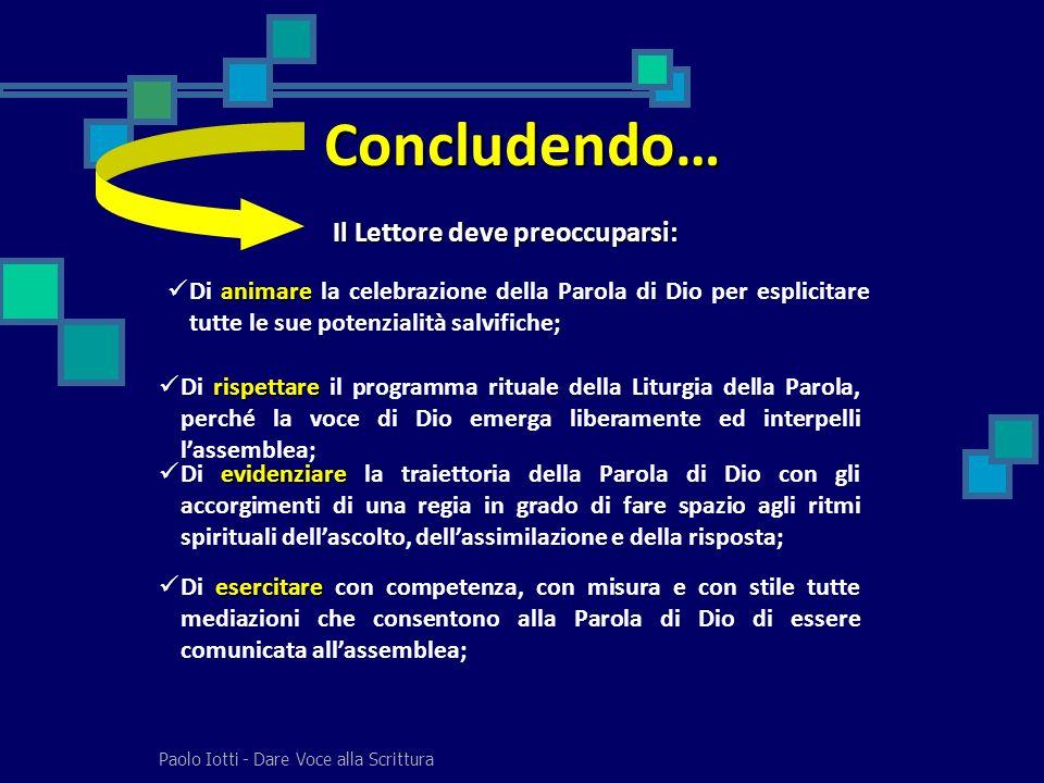 Paolo Iotti - Dare Voce alla Scrittura Concludendo… Il Lettore deve preoccuparsi: animare Di animare la celebrazione della Parola di Dio per esplicita