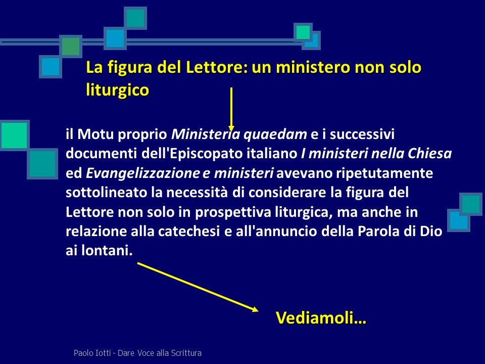Paolo Iotti - Dare Voce alla Scrittura La figura del Lettore: un ministero non solo liturgico il Motu proprio Ministeria quaedam e i successivi docume