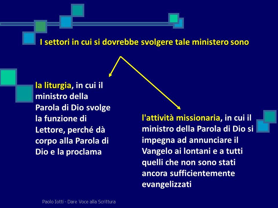 Paolo Iotti - Dare Voce alla Scrittura I settori in cui si dovrebbe svolgere tale ministero sono la liturgia la liturgia, in cui il ministro della Par