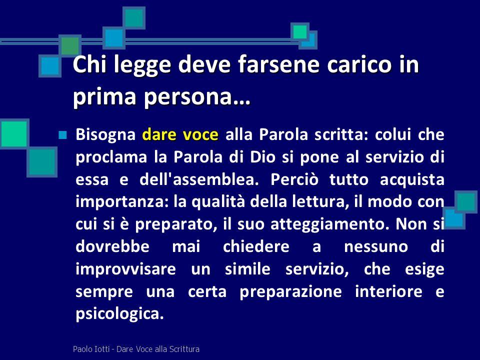 Paolo Iotti - Dare Voce alla Scrittura Chi legge deve farsene carico in prima persona… dare voce Bisogna dare voce alla Parola scritta: colui che proc