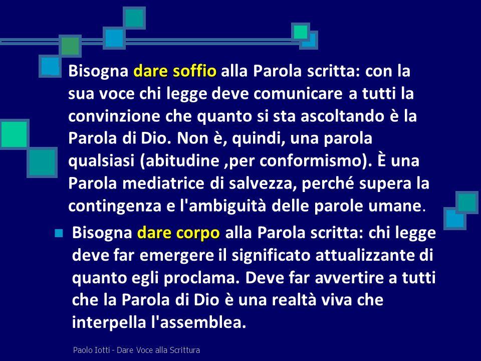 Paolo Iotti - Dare Voce alla Scrittura passaggio dalla Parola scritta alla Parola viva sta nell operare il passaggio dalla Parola scritta alla Parola viva.