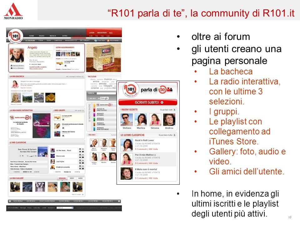 10 oltre ai forum gli utenti creano una pagina personale La bacheca La radio interattiva, con le ultime 3 selezioni. I gruppi. Le playlist con collega