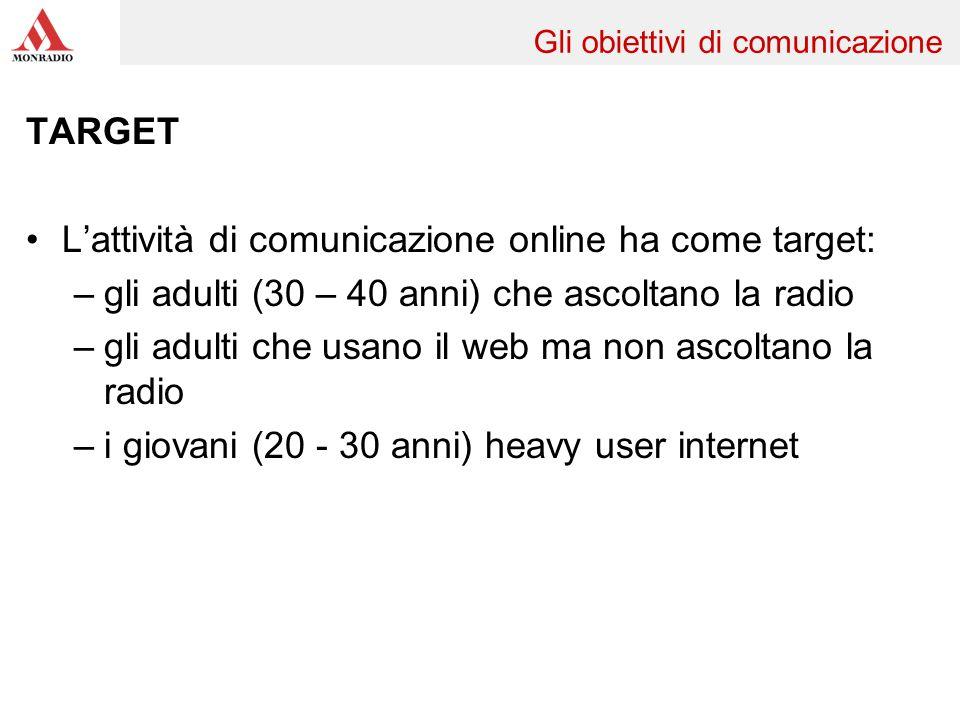 TARGET Lattività di comunicazione online ha come target: –gli adulti (30 – 40 anni) che ascoltano la radio –gli adulti che usano il web ma non ascolta