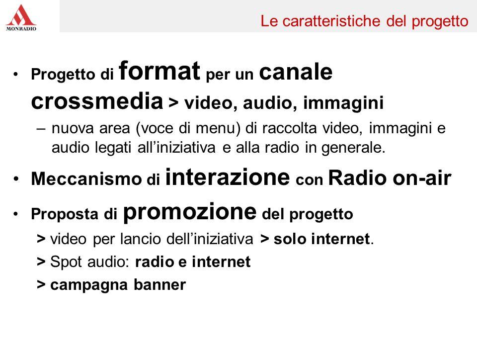 Progetto di format per un canale crossmedia > video, audio, immagini –nuova area (voce di menu) di raccolta video, immagini e audio legati alliniziativa e alla radio in generale.