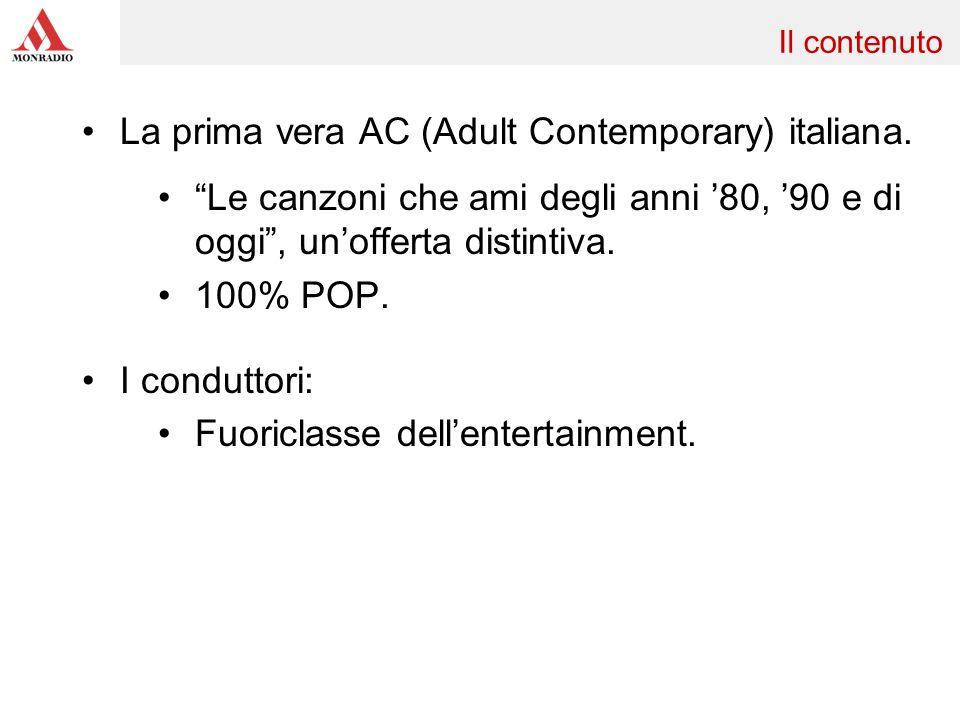 La prima vera AC (Adult Contemporary) italiana. Le canzoni che ami degli anni 80, 90 e di oggi, unofferta distintiva. 100% POP. I conduttori: Fuoricla