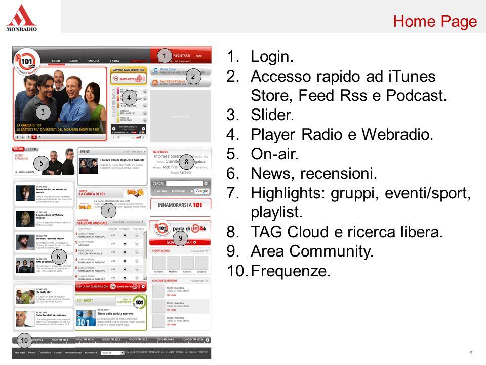 6 2 3 4 5 6 8 1 1.Login. 2.Accesso rapido ad iTunes Store, Feed Rss e Podcast. 3.Slider. 4.Player Radio e Webradio. 5.On-air. 6.News, recensioni. 7.Hi