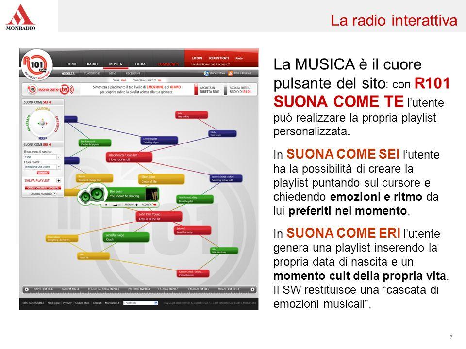La MUSICA è il cuore pulsante del sito : con R101 SUONA COME TE lutente può realizzare la propria playlist personalizzata. In SUONA COME SEI lutente h