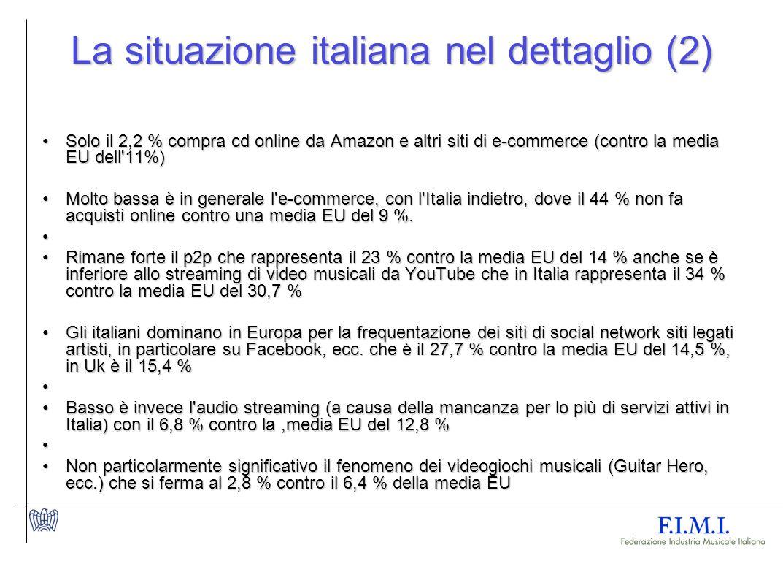 La situazione italiana nel dettaglio (2) Solo il 2,2 % compra cd online da Amazon e altri siti di e-commerce (contro la media EU dell 11%)Solo il 2,2 % compra cd online da Amazon e altri siti di e-commerce (contro la media EU dell 11%) Molto bassa è in generale l e-commerce, con l Italia indietro, dove il 44 % non fa acquisti online contro una media EU del 9 %.Molto bassa è in generale l e-commerce, con l Italia indietro, dove il 44 % non fa acquisti online contro una media EU del 9 %.
