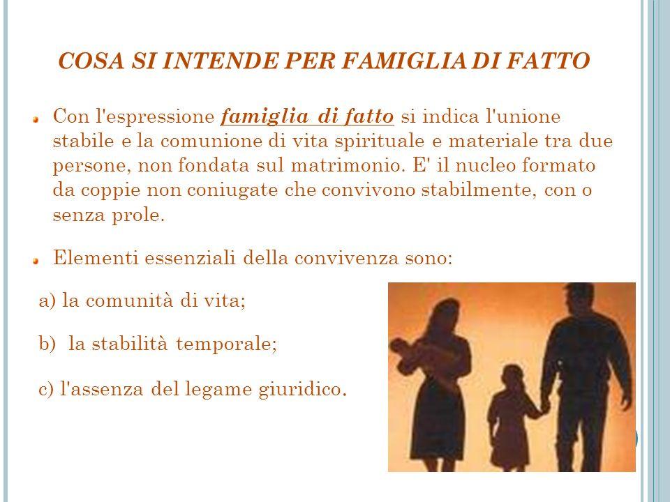 COSA SI INTENDE PER FAMIGLIA DI FATTO Con l'espressione famiglia di fatto si indica l'unione stabile e la comunione di vita spirituale e materiale tra