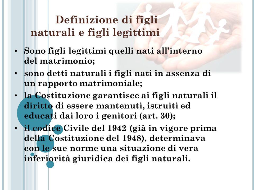 Definizione di figli naturali e figli legittimi Sono figli legittimi quelli nati allinterno del matrimonio; sono detti naturali i figli nati in assenz