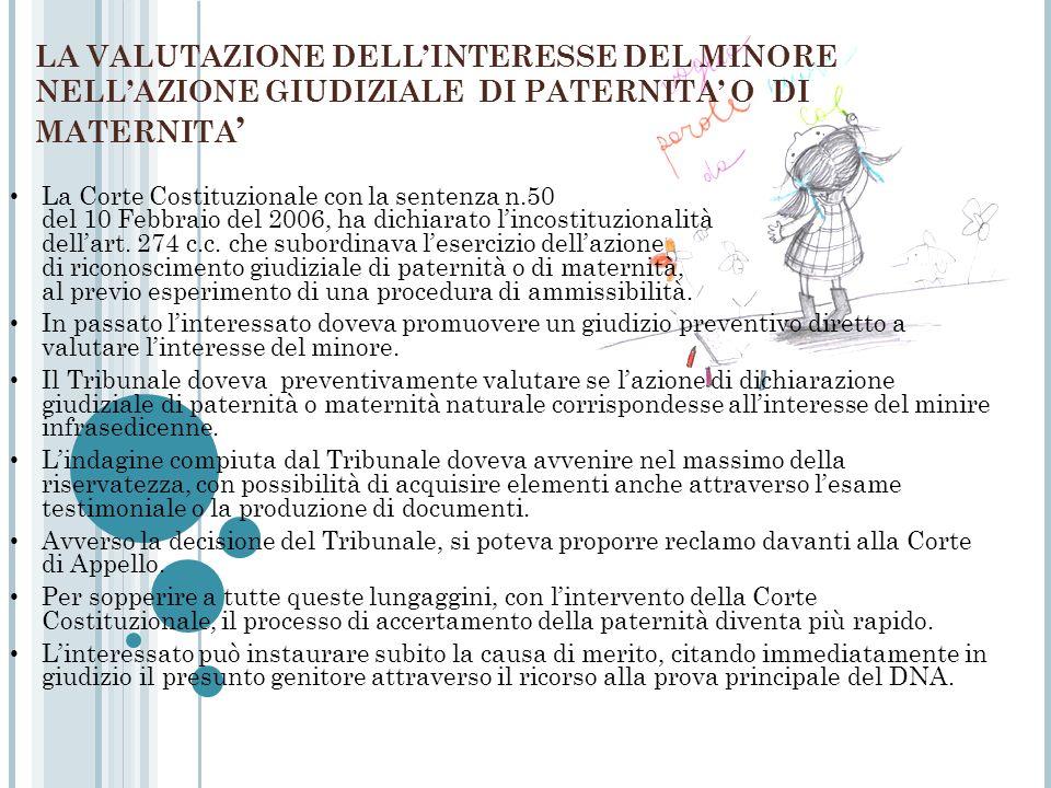 LA VALUTAZIONE DELLINTERESSE DEL MINORE NELLAZIONE GIUDIZIALE DI PATERNITA O DI MATERNITA La Corte Costituzionale con la sentenza n.50 del 10 Febbraio