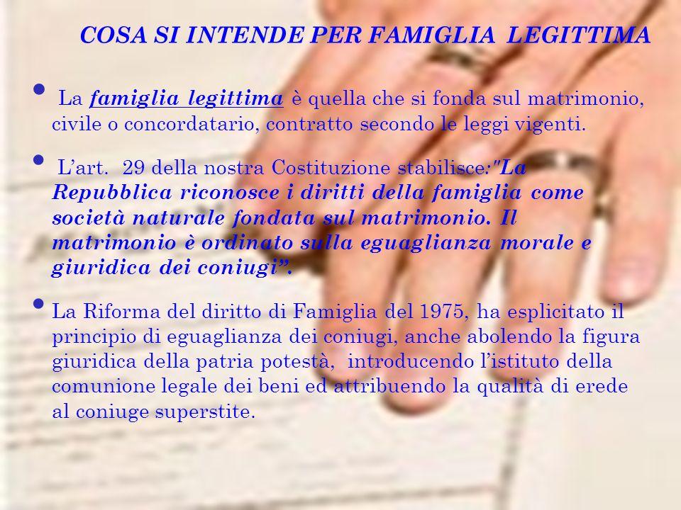 COSA SI INTENDE PER FAMIGLIA LEGITTIMA La famiglia legittima è quella che si fonda sul matrimonio, civile o concordatario, contratto secondo le leggi