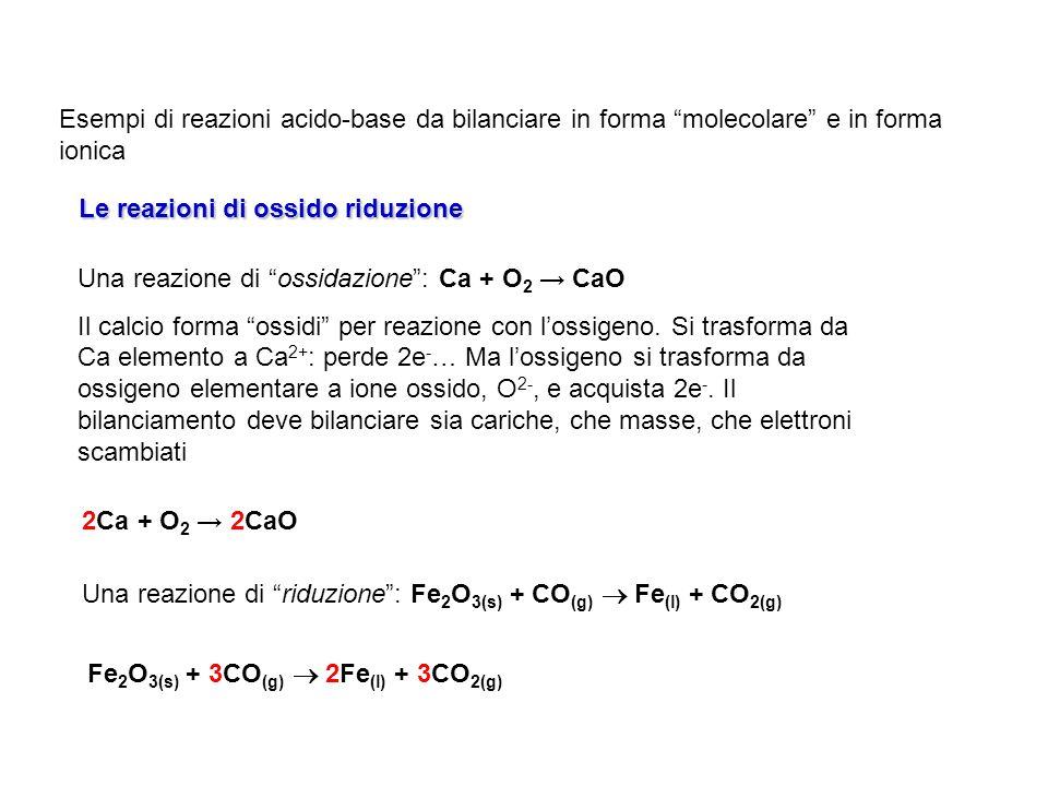 Esempi di reazioni acido-base da bilanciare in forma molecolare e in forma ionica Le reazioni di ossido riduzione Una reazione di ossidazione: Ca + O
