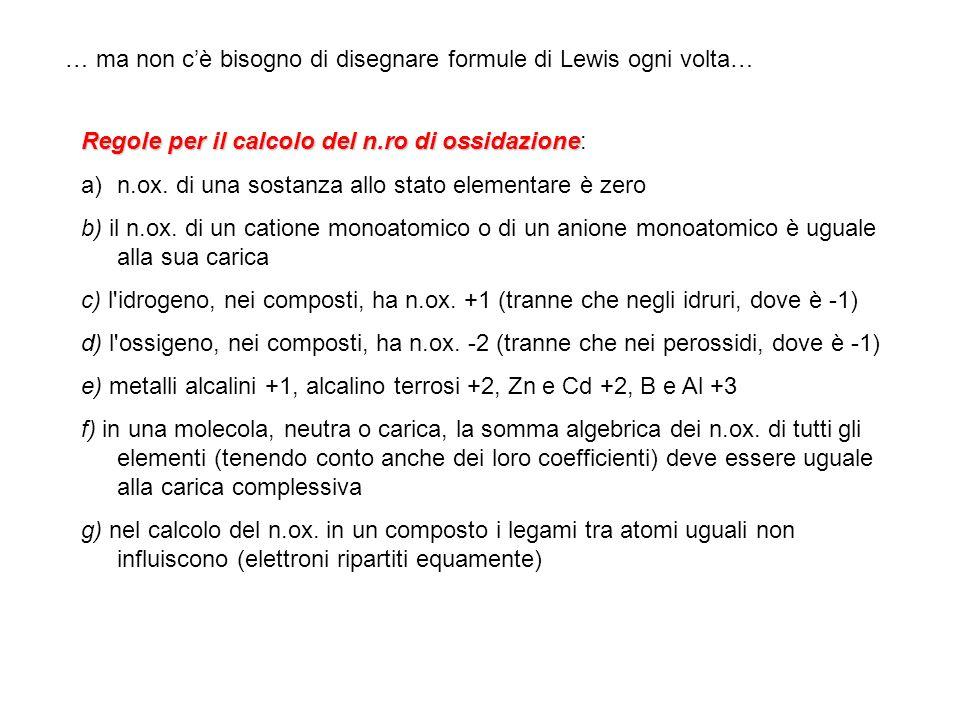 … ma non cè bisogno di disegnare formule di Lewis ogni volta… Regole per il calcolo del n.ro di ossidazione Regole per il calcolo del n.ro di ossidazi