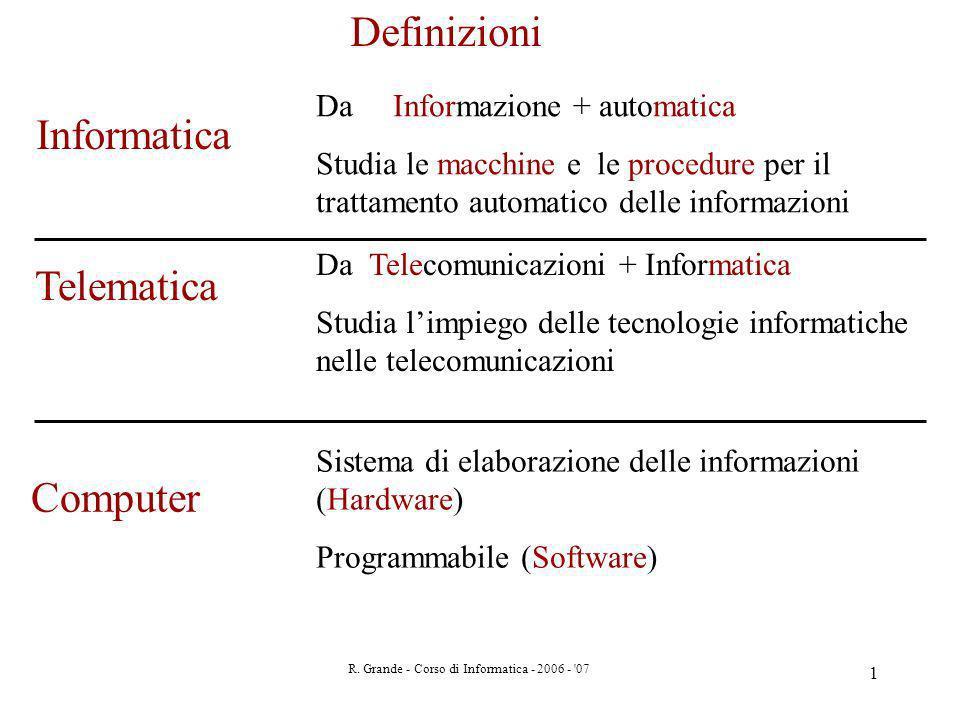 R. Grande - Corso di Informatica - 2006 - '07 1 Informatica Telematica Da Informazione + automatica Studia le macchine e le procedure per il trattamen