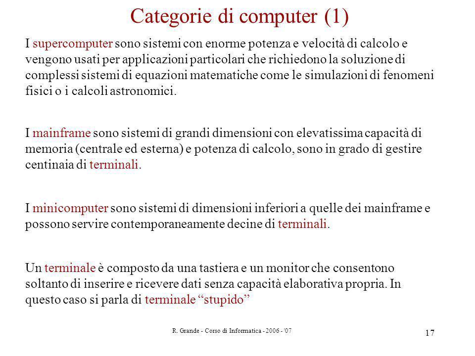 R. Grande - Corso di Informatica - 2006 - '07 17 I supercomputer sono sistemi con enorme potenza e velocità di calcolo e vengono usati per applicazion