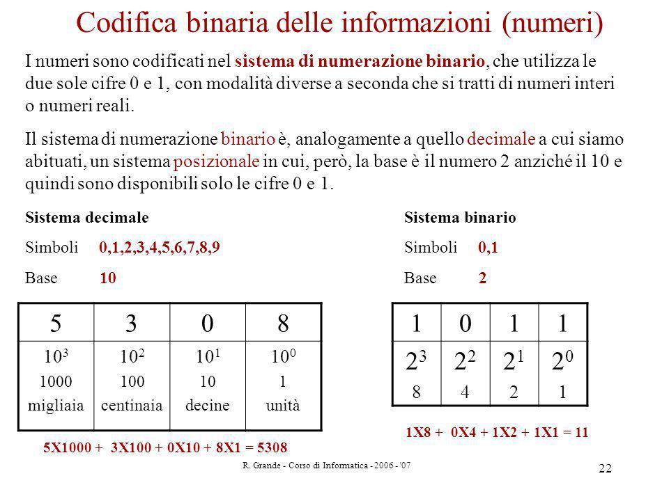 R. Grande - Corso di Informatica - 2006 - '07 22 I numeri sono codificati nel sistema di numerazione binario, che utilizza le due sole cifre 0 e 1, co