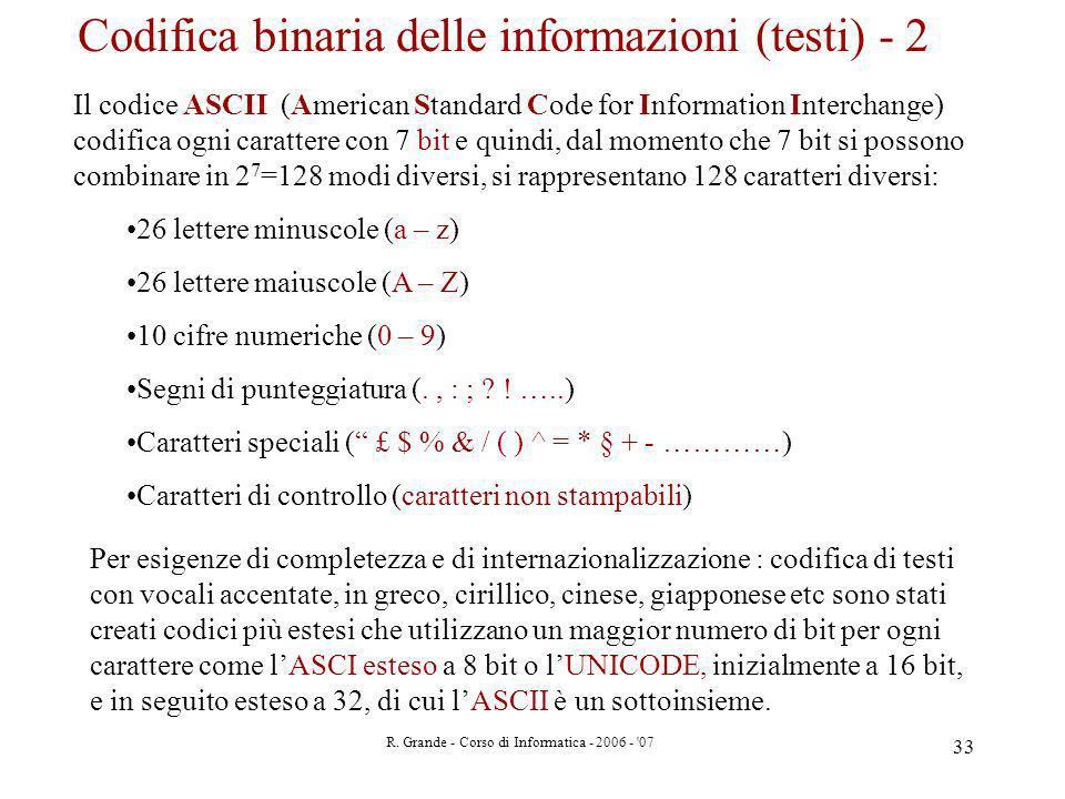 R. Grande - Corso di Informatica - 2006 - '07 33 Il codice ASCII (American Standard Code for Information Interchange) codifica ogni carattere con 7 bi
