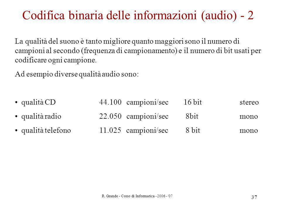 R. Grande - Corso di Informatica - 2006 - '07 37 Codifica binaria delle informazioni (audio) - 2 La qualità del suono è tanto migliore quanto maggiori