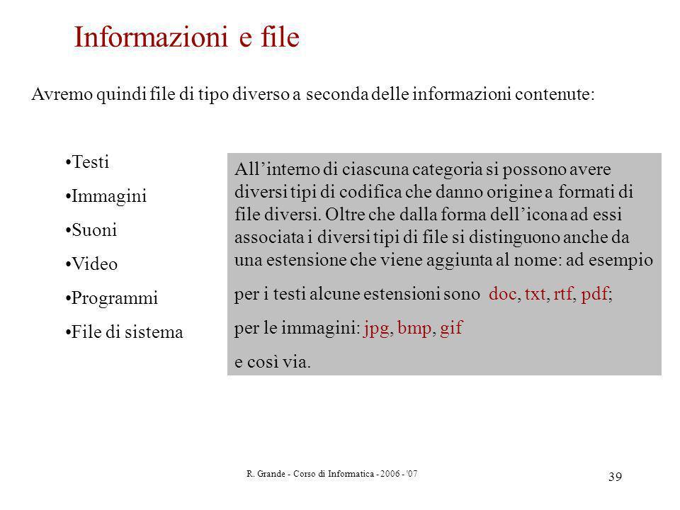 R. Grande - Corso di Informatica - 2006 - '07 39 Avremo quindi file di tipo diverso a seconda delle informazioni contenute: Testi Immagini Suoni Video