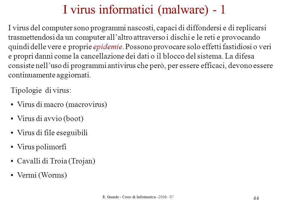 R. Grande - Corso di Informatica - 2006 - '07 44 I virus informatici (malware) - 1 I virus del computer sono programmi nascosti, capaci di diffondersi