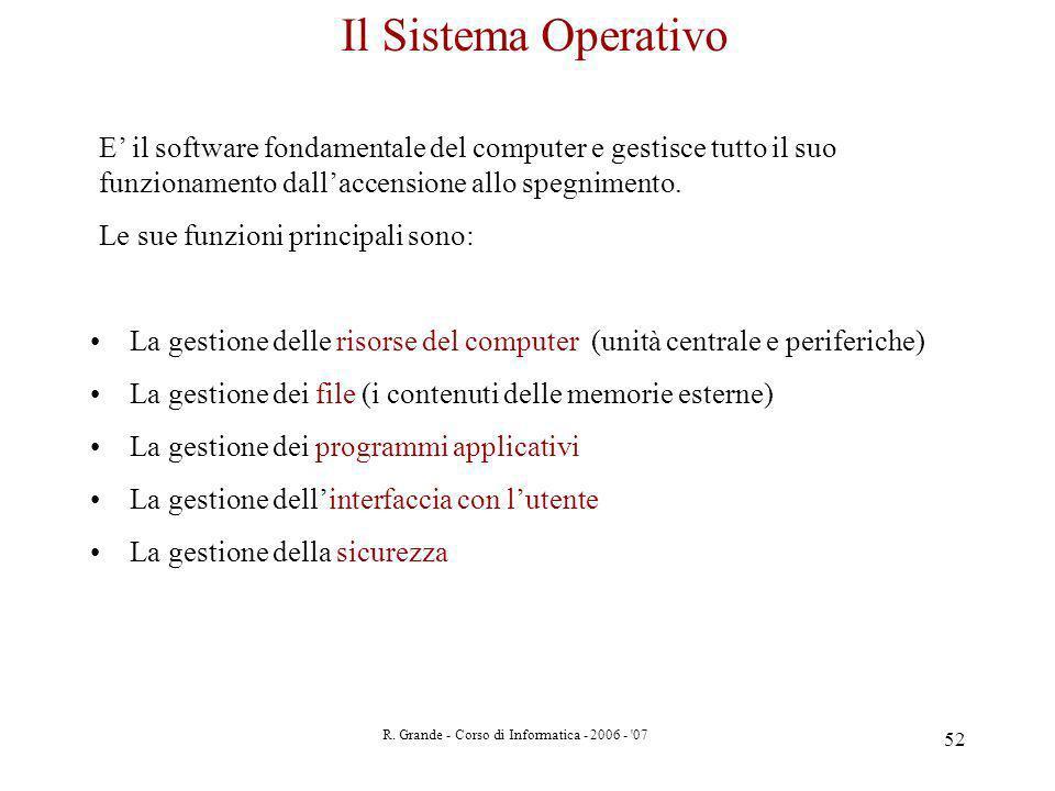 R. Grande - Corso di Informatica - 2006 - '07 52 Il Sistema Operativo E il software fondamentale del computer e gestisce tutto il suo funzionamento da