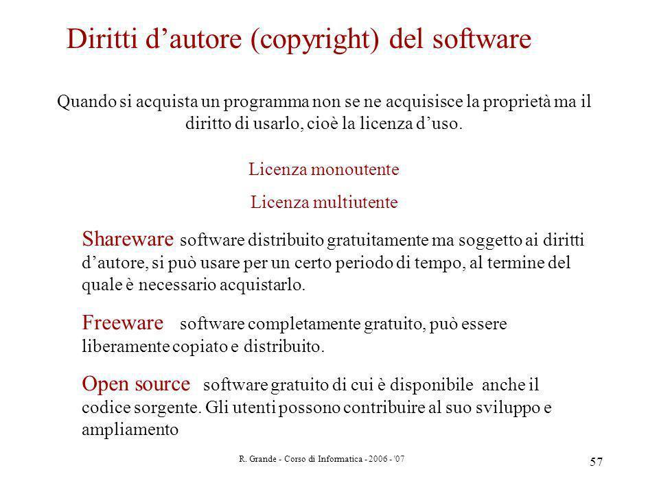 R. Grande - Corso di Informatica - 2006 - '07 57 Diritti dautore (copyright) del software Quando si acquista un programma non se ne acquisisce la prop