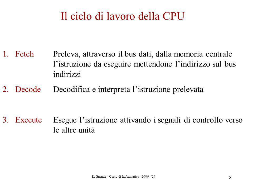 R. Grande - Corso di Informatica - 2006 - '07 8 Il ciclo di lavoro della CPU 1.Fetch Preleva, attraverso il bus dati, dalla memoria centrale listruzio