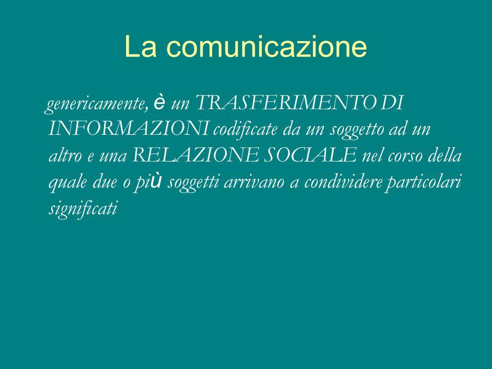 La comunicazione genericamente, è un TRASFERIMENTO DI INFORMAZIONI codificate da un soggetto ad un altro e una RELAZIONE SOCIALE nel corso della quale